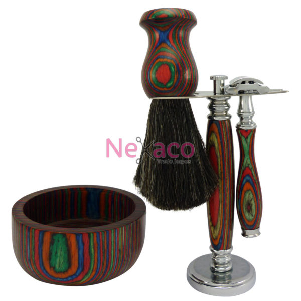 Shaving Set   SvS-005   Chrome + Pakkawood multi stand